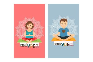 Yoga kids vertical flyers set