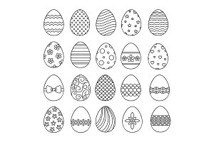 Happy easter eggs thin line icons