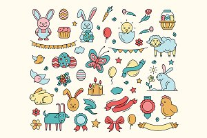 Easter - Cartoon Icons Set
