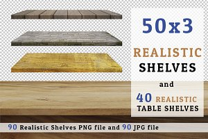 90 Realistic Shelves & Table Set 4