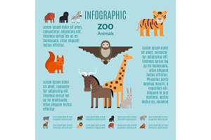 Zoo animals vector infographic
