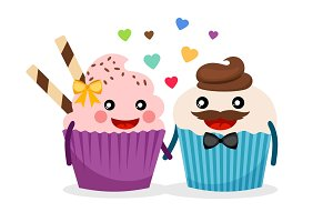 Sweet cupcakes holding hands