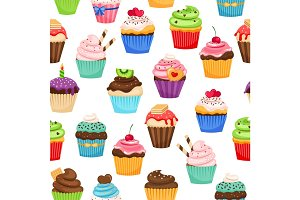 Chocolate cupcakes seamless pattern