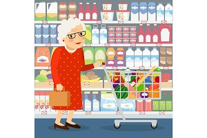 Grandmother shopping illustration