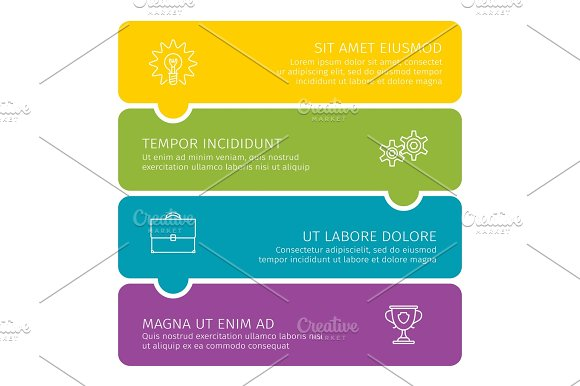 Steps Of Process Business Colorful Illustration