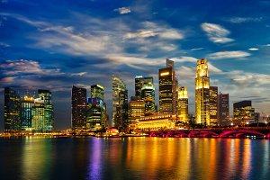 Singapore skyline in evening