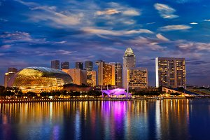 Singapore skyline in the evening