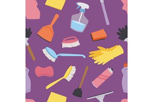 House cleaning tools seamless pattern background