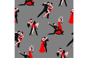 Couples dancing latin american romantic couples seamless pattern