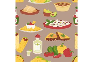 Mexican traditional food with meat seamless pattern