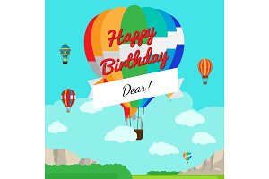 Colorful hot air balloon Birthday card