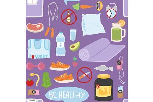 Seamless pattern with healthy lifestyle daily eating icons and sport sneakers lifestyle fitness food positive fit weight background vector illustration.