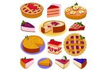 Homemade organic pie dessert vector illustration isolated