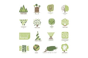 Vector tree wood oak design element badge modern forest label and templates nature label for your business eco graphic plant illustration.