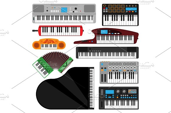 Keyboard Musical Instruments Isolated Classical Melody Studio Acoustic Shiny Musician Equipment And Orchestra Piano Composer Electronic Sound Vector