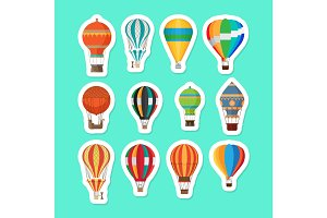Vintage hot air balloons stickers set