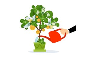 Money tree care illustration