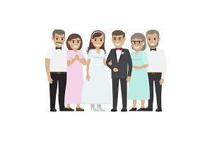 Wedding Family Together. Newlyweds Couple Design