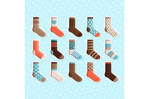 Colorful cartoon cute kids socks stickers