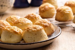 scones with cheese in rustic setting