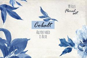 Cobalt Blue. Floral set