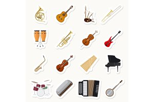 Musical instruments stickers set