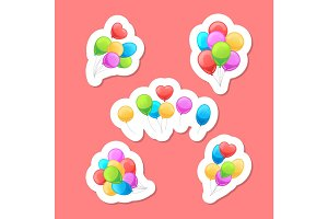 Balloons stickers set