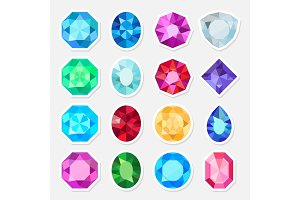 Jewels or precious gem stickers set