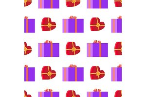 Wrapping Paper with Red and Violet Gift Boxes
