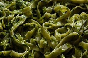 green vegetarian tagliatelle