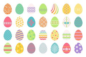 Colored easter eggs icons