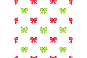 Red and green bows seamless pattern