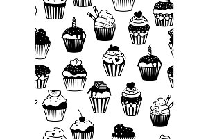 Black and white cupcakes seamless pattern