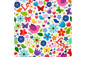 Cute spring love seamless pattern