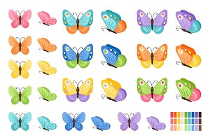 Watercolor butterflies icons