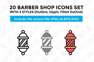 20 Barber Shop Icon Set