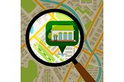 Supermarket location at city map