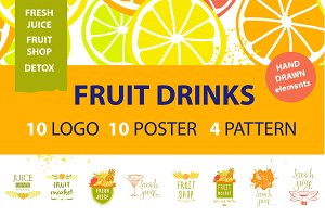 Fruit shop logo and background