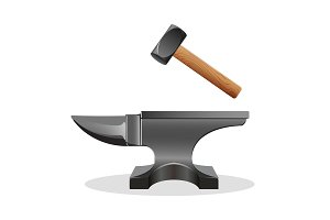 Anvil icon with hammer isolated on white. Block  hard surface