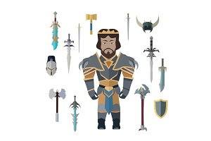 Fantasy Knight Character with Weapons Vector.