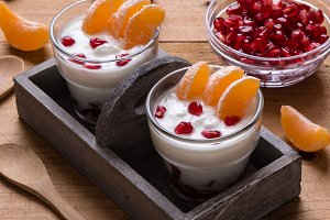 yogurt with pomegranate seeds