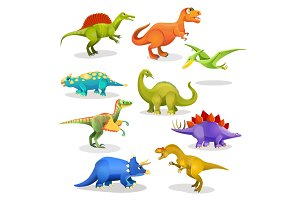 Collection of prehistoric dinosaur habitants. Vector
