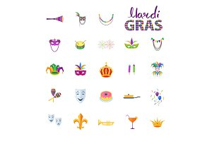 Mardi Gras Set of Carnival Decorative Elements