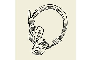 headphones sketch vector illustration