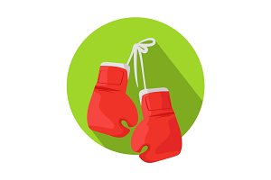 Box Vector Icon with Classic Red Boxing Gloves