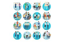 Office Teamworking Process Collection on White