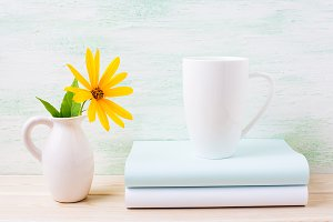 White cappuccino mug mockup
