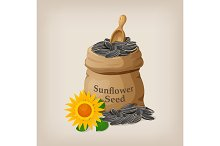 Sunflower seeds in a sack and spoon. Vector illustration