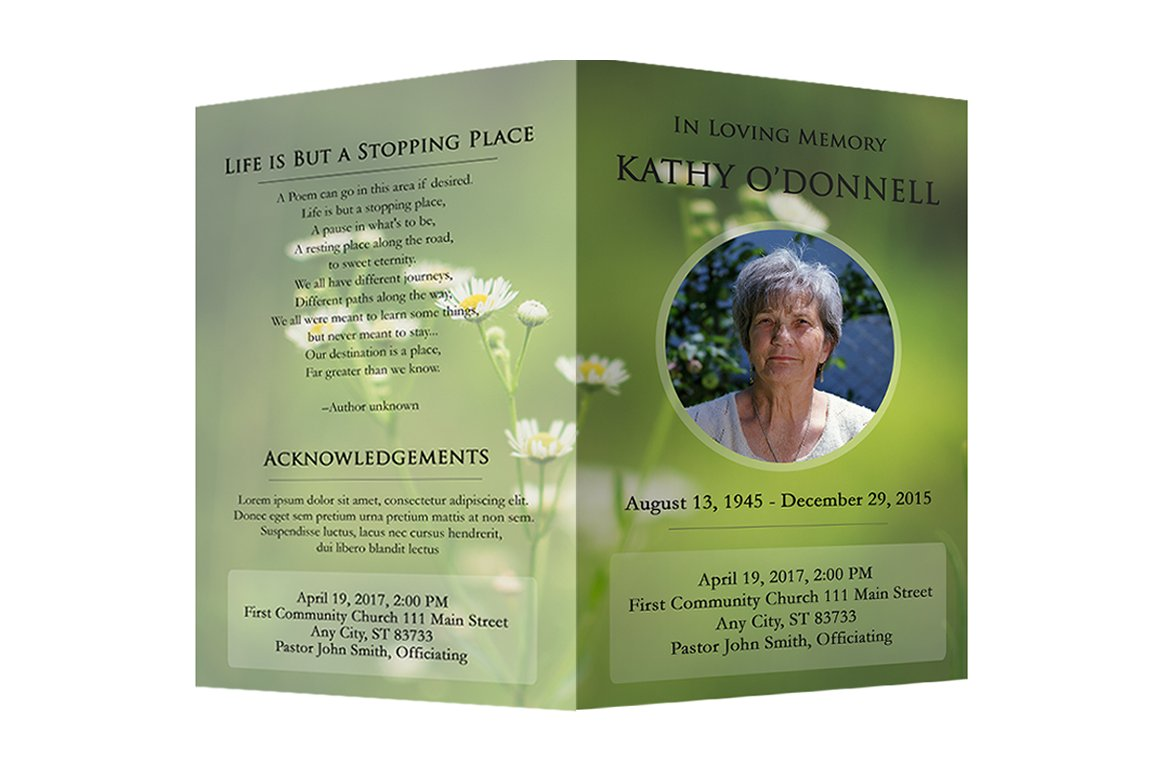 funeral program photoshop template brochure templates creative market. Black Bedroom Furniture Sets. Home Design Ideas
