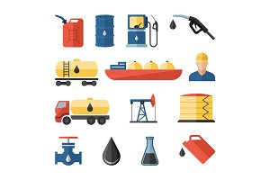 Oil and petroleum flat icons